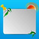 Abstact sign. Abstract background of blue sky and sun with a sign Royalty Free Stock Image