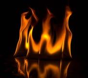 Abstact tapetbrand flammar på svart bakgrund Arkivbilder