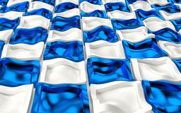 Abstact white modern architecture background with white and blue wavy cubes. 3d render Royalty Free Stock Photos