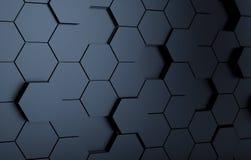 Abstact zwarte futuristische muur 3d geef terug stock illustratie