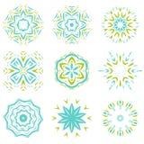 Abstarct自然绿色和蓝色装饰品对象集合 免版税库存图片