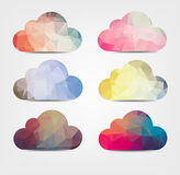 Abstarct background with cloud icons. Colorful geometrical clouds on a light background Stock Images