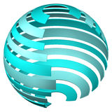 Abstarct background - sphere of tape. 3D rendering. Stock Photo