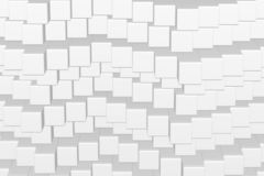 Abstarct background - White cubes wall. 3D rendering royalty free illustration