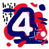 Abstarct design for number 4. Usisng minimal colors and simple shapes Stock Illustration