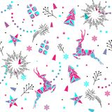 ABSTARCT ELEMENTS OF HOLLY HOLIDAY. MERRY CHRISTMAS SEAMLESS PATTERN VECTOR. WINTER HOLYDAY. MERRY CHRISTMAS SEAMLESS PATTERN. VECTOR ILLUSTRATION. PRESENT royalty free illustration
