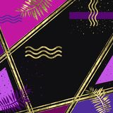 Abstarct golden and violet background. Abstarct background of golden stripes and elements with violet and purple parts on dark background vector illustration