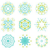 Abstarct natural green and blue ornament object set Royalty Free Stock Images