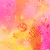 Abstarct nature background with watercolor texture and traces of plants, flowers and leaves. Pink and orange mix of. Colors royalty free illustration