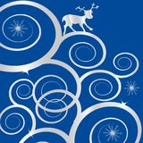 Abstarct spires. Holiday illustration with abstarct spires and deer on blue background vector illustration