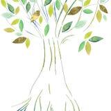 Abstarct träd med guld- och gröna sidor Arkivfoton