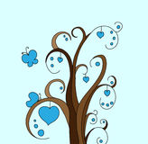 Abstarct tree. With blue hearts and butterfly Stock Image