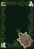 Abstarct Turtle Spirit Space_eps. Illustration of abstract Asia style with turtle, words, swirl circle on green background. Turtle run slowly, imagine it said royalty free illustration