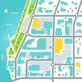 Abstarctkaart van Kuststadsgebied Vector ontwerp Stock Foto