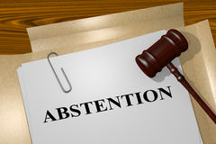 Abstention - legal concept. 3D illustration of ABSTENTION title on legal document Royalty Free Stock Images
