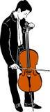 Abstimmendes Cello des jungen männlichen Musikers Stockfotos