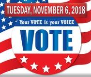 Abstimmung am Dienstag, den 6. November 2018-Fahne mit amerikanischer Flagge lizenzfreie abbildung