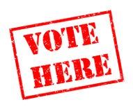 Abstimmung hier stempeln auf weißem Hintergrund Lizenzfreie Stockbilder