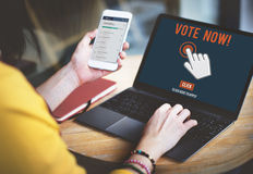 Abstimmung jetzt stockfotografie