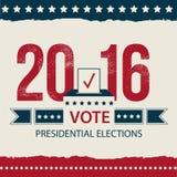 Abstimmungs-Präsidentschaftswahlkarte, Präsidentschaftswahl-Plakat-Design 2016 USA-Präsidentschaftswahlplakat Stockbilder