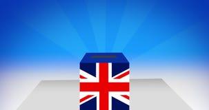 Abstimmungskasten Großbritanniens Konzept Brexit /Democracy, nahtlose Schleife 4K stock abbildung