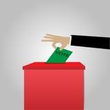 Abstimmungskonzept in den Wahlen - vector Bilder, Wahlurnen und Papier Stockfoto