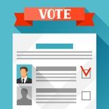Abstimmungsstimmzettel mit vorgewähltem Kandidaten Politische Wahlillustration für Fahnen, Website, Fahnen und flayers Lizenzfreie Stockfotos