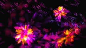 A abstração brilhante com formas quadradas e as flores no espaço, fundo gerado por computador moderno, 3d rendem video estoque