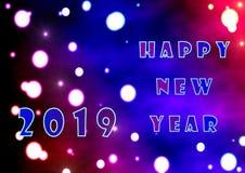 Abstração com o desejo de um ano novo feliz e do número do ano 2019 ilustração royalty free