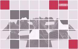 Abstração com paisagem poligonal cor-de-rosa da montanha Fotografia de Stock
