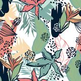 Abstração da selva Folhas e plantas tropicais Imagens de Stock Royalty Free