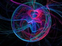 Abstração do espaço A conexão e o nascimento de energias suteis, de elementos e de mundos Imagem do Fractal fotografia de stock