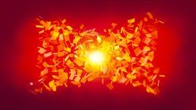 Abstração vermelha com quadrados - a distorção do espaço com efeito brilhante, fundo gerado por computador, 3D rende ilustração do vetor