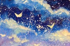 Abstrações brancas na perspectiva do céu azul-violeta da noite A neve cai, Natal, um conto de fadas, um óleo original ideal Imagens de Stock