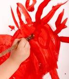 Abstracção de Sun pintada pela criança. fotos de stock