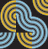 Abstracção dos círculos em quadrados pretos Fotografia de Stock