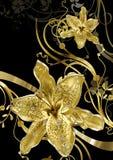 Abstracção floral do ouro Foto de Stock