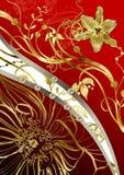 Abstracção floral do ouro Fotografia de Stock