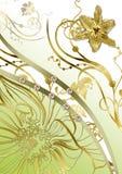 Abstracção floral do ouro Imagens de Stock