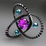 Abstracção preta com os gemstones para dentro ilustração stock