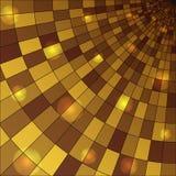Abstrac与发光的球形的金背景 免版税库存图片
