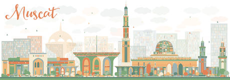 Abstrac Muscat Skyline with Color Buildings. Vector illustration. Business Travel and Tourism Concept with Historic Buildings. Image for Presentation Banner Stock Photography