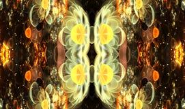 Abstracción artística integrada por formas de la mariposa del fractal y luces brillantes que brillan intensamente a propósito de  stock de ilustración