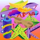 Abstracción de diversos objetos, violín, tejado, plátano, óvalo, estrella, letra Imagenes de archivo