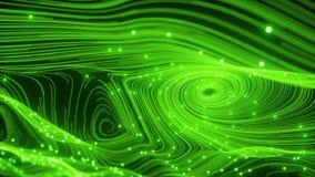 Abstracci?n de la numeraci?n que agita verde borroso animado de part?cula y de l?nea ilustración del vector