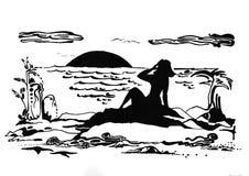 Abstracción de la playa Artes gráficos handmade Blanco negro tinta Fotos de archivo