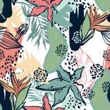 Abstracción de la selva Hojas y plantas tropicales Imágenes de archivo libres de regalías