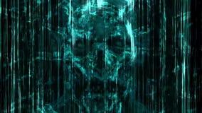 Abstracción de neón azul asustadiza del cráneo de la ruina y de las líneas verticales stock de ilustración
