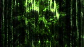 Abstracción de neón verde asustadiza del cráneo stock de ilustración