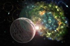 Abstracción, fondo cósmico, colorido para las ilustraciones del diseño ilustración del vector